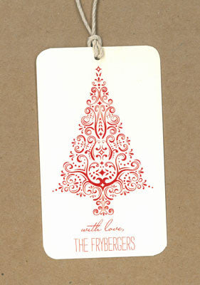 Fancy Christmas Tree Red Say Anything Holiday Gift/Wine Tags