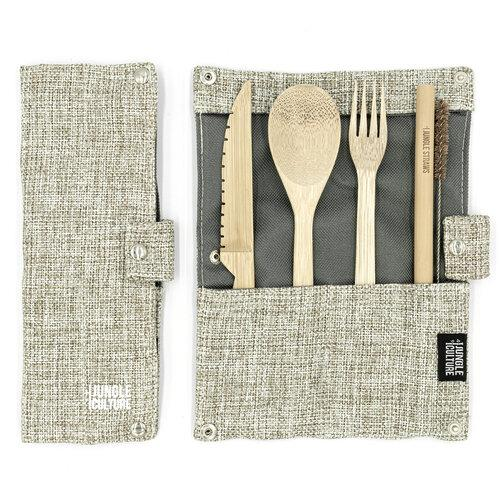 Reusable Bamboo Cutlery Set w/ Natural Hessian Travel Pouch