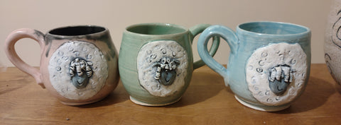THREE pottery coffee cups longwool pastels three dishwasher safe
