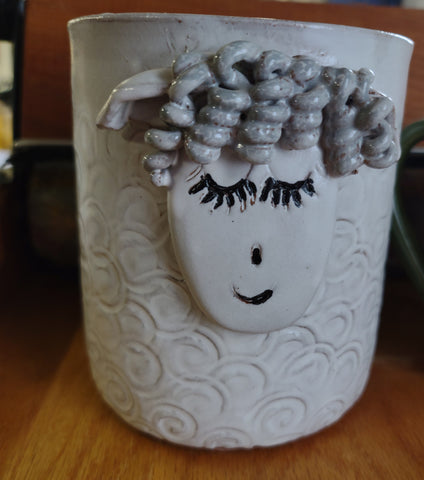 Taller sheep utensil holder handmade pottery dishwasher safe longwool