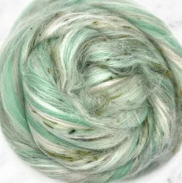 1lb Feelin' Minty Fresh  Corriedale and Tussah Silk nepps  Combed Top