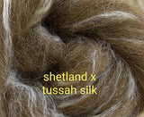 1lb Shetland x Tussah Silk Combed Top MULTIPLE COLORS ON ORDER