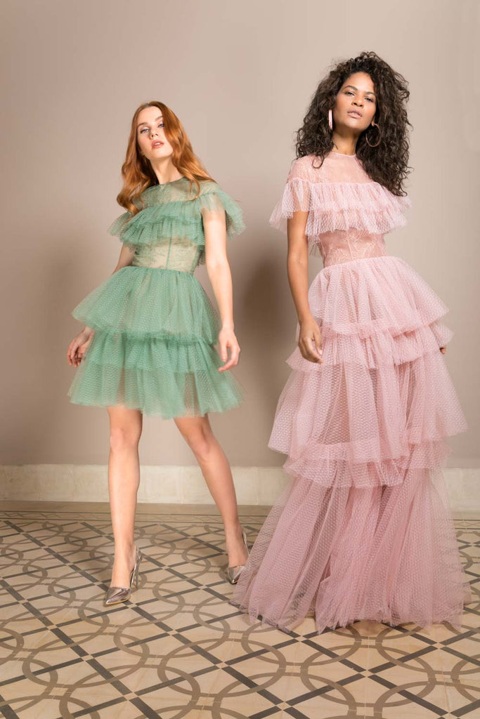 TULLE & LACE RUFFLES DRESS