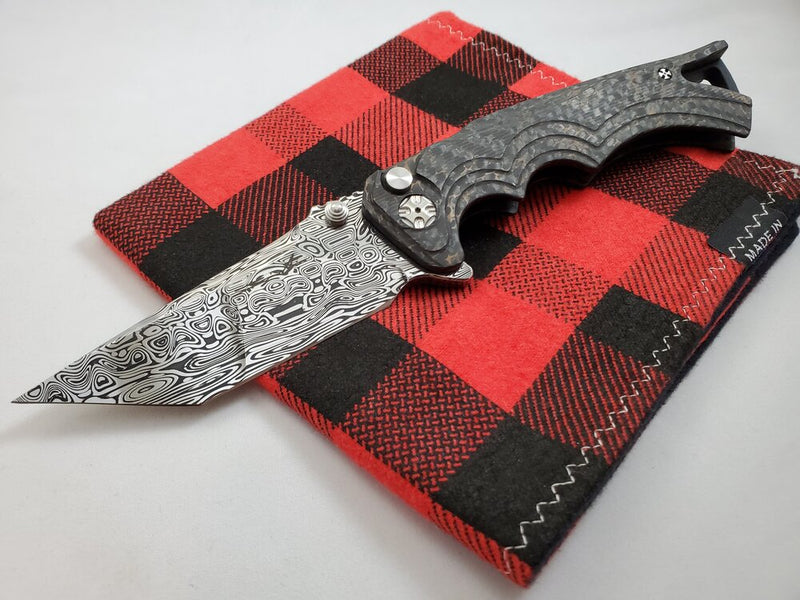 Brian Tighe Fighter Damasteel Tanto Copper Infused Carbon Fiber