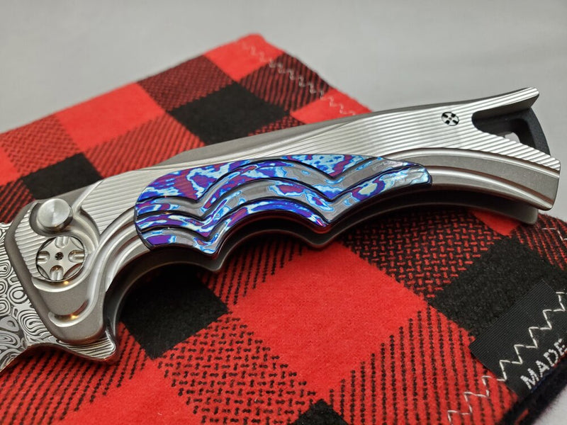 Brian Tighe Fighter Titanium Timascus Inlaid w/ Damasteel Clip
