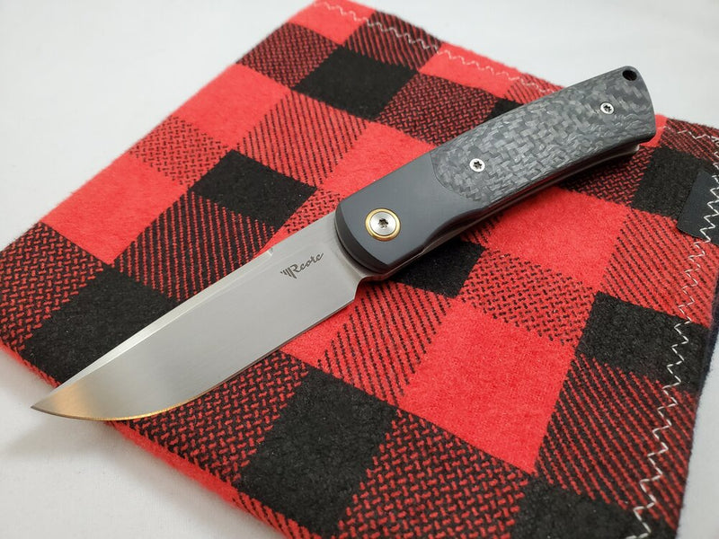 Reate Knives Tribute Hand Satin M390 Zirconium Carbon Fiber