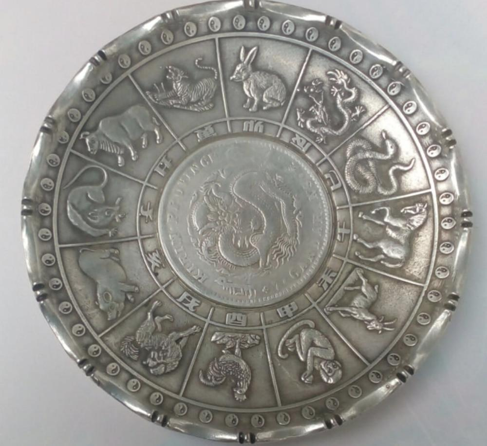 Chinese Zodiac Signs Silver Wealth Dish Plate