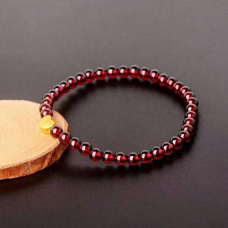 Heart-Shaped Charm in Wine Red Garnet Bracelet - Inner Manifestation