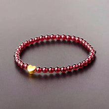 Load image into Gallery viewer, Heart-Shaped Charm in Wine Red Garnet Bracelet - Inner Manifestation