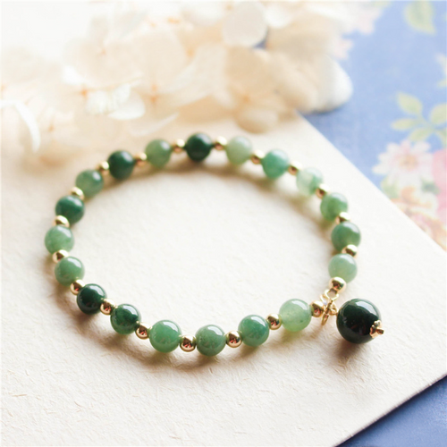 14k Gold Natural Green Jade Lucky Charm Bracelet - Inner Manifestation