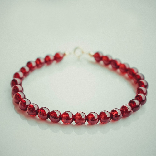 14K Gold Natural Wine Red Garnet Healing Bracelet - Inner Manifestation