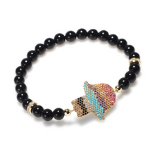 Load image into Gallery viewer, Natural Black Obsidian Hamsa Protection Bracelet - Limited Edition - Inner Manifestation