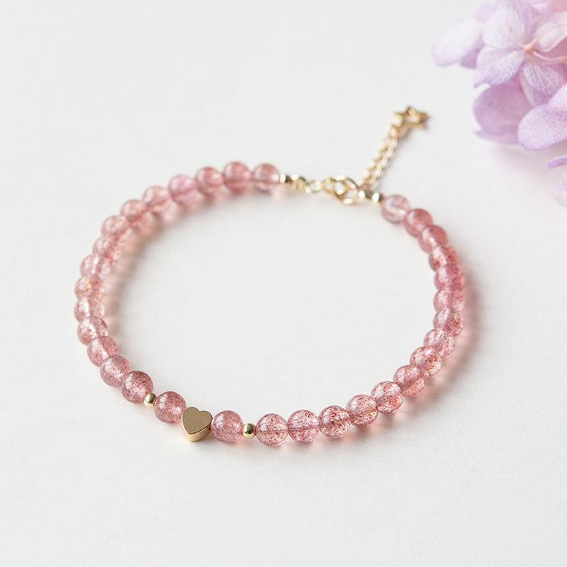Natural Strawberry Quartz Charm Bracelet - Inner Manifestation