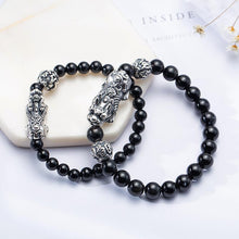 Load image into Gallery viewer, Silver Pixiu in Black Obsidian Bracelet - Inner Manifestation