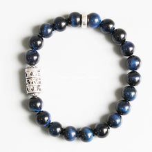 Load image into Gallery viewer, Blue Tiger Eye Protection Bracelet With Tibetan Mantra Totem - Inner Manifestation