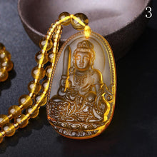 Load image into Gallery viewer, Citrine Guardian Buddha Pendant Necklace - Inner Manifestation