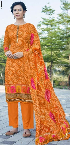Rajsi Bandhej Orange Pink Straight Suit D6N3003SS