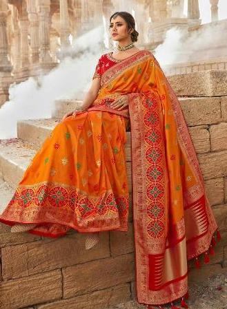 Vaidahi Orange & Red Pure Silk Embroidered Saree D6N13330A