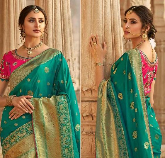 Vaidahi Green & Pink  Pure Silk Embroidered Saree D6N13337A