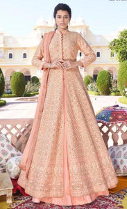 Mehak Lucknowi Chikankari Peach Embroidered Anarkali D6N984B
