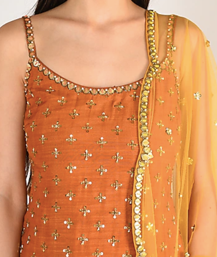 Swaraa Hand Embroidered Mustard Yellow Plazzo Suit D6N5821SU