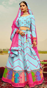 Shubrah Cool Blue Pink Digital Artwork Lehenga Choli D6N2003L