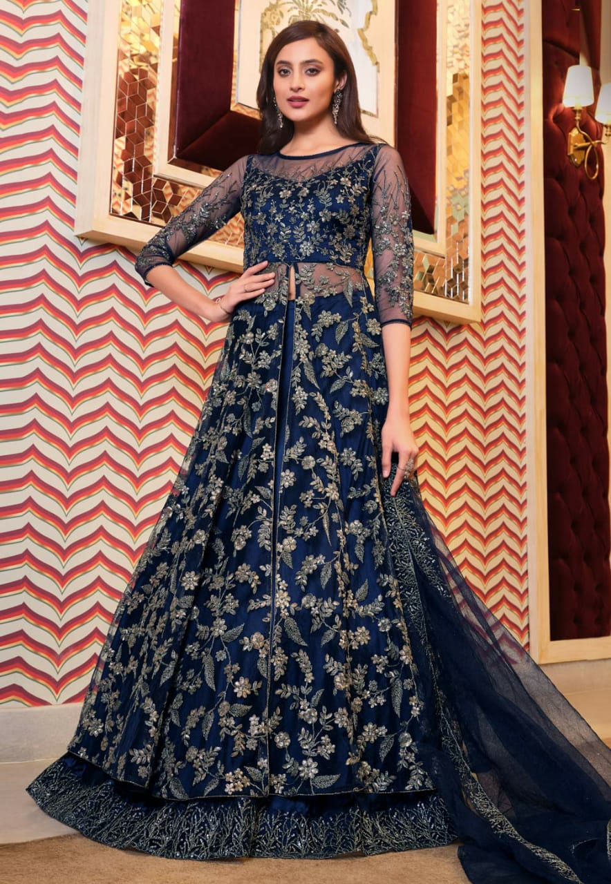 Ruksaar Zariwork Navy Blue Golden Embroidered Anarkali D6N117B