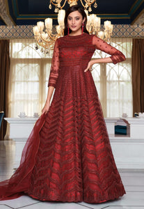 Ruksaar Resham Aariwork Red Maroon Embroidered Anarkali D6N118B