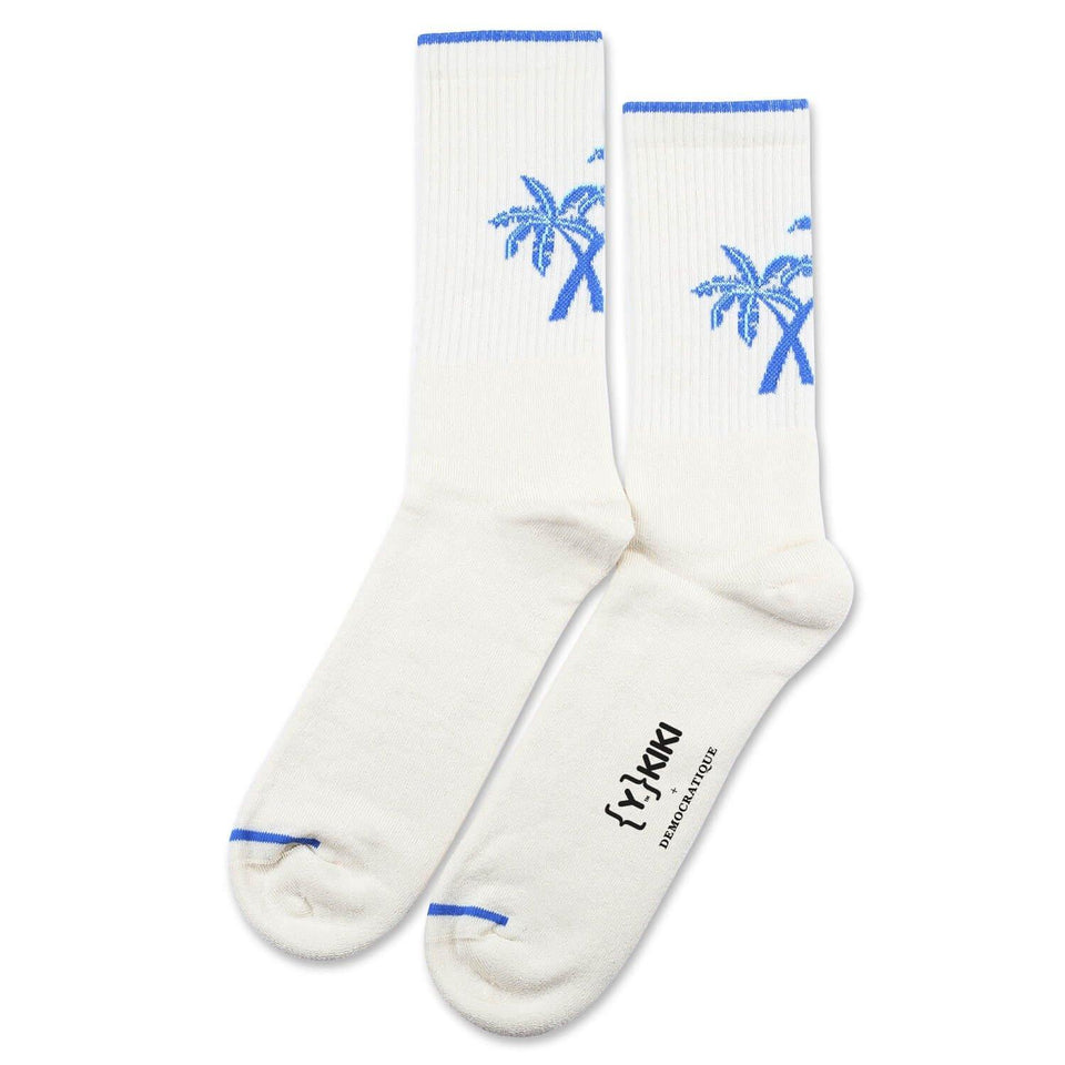 YKIKI x Democratique Socks Athletique Classique Motif Off White/Adams Blue/Poolside Green - Democratique Socks