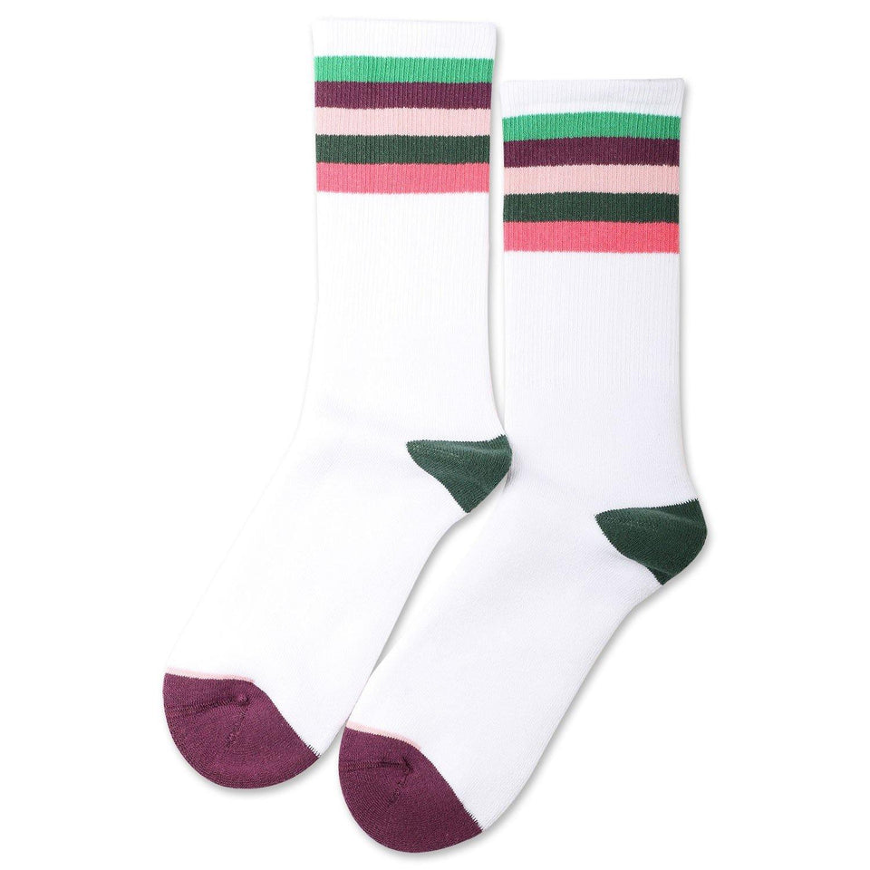 Democratique Socks Athletique Classique Motif Stripes Clear White / Greenday / Heavy Plum / Pale Pink / Deep Green / Watermelon - Democratique Socks