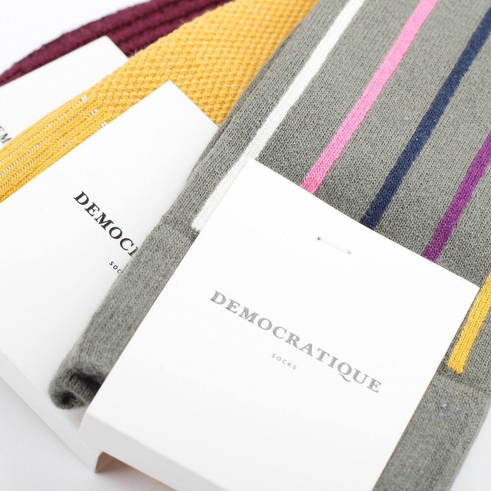 Democratique Socks Originals Latitude Striped Army - Hot Curry - Violet - Navy - Pink Fleur - Off White - Democratique Socks