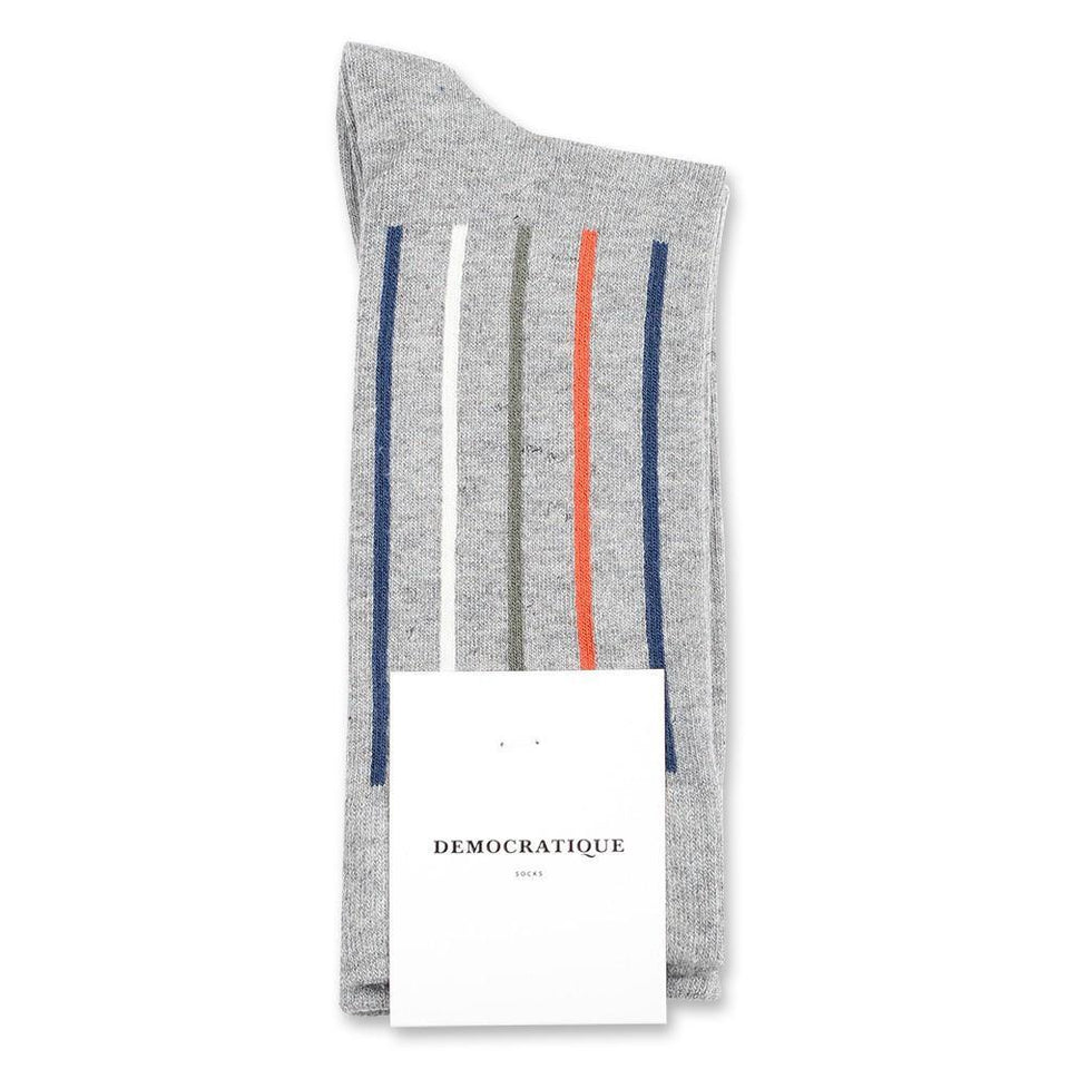 Democratique Socks Originals Latitude Striped Light Grey Melange - Dark Ocean Blue - Dusty Orange - Army - Off White - Democratique Socks