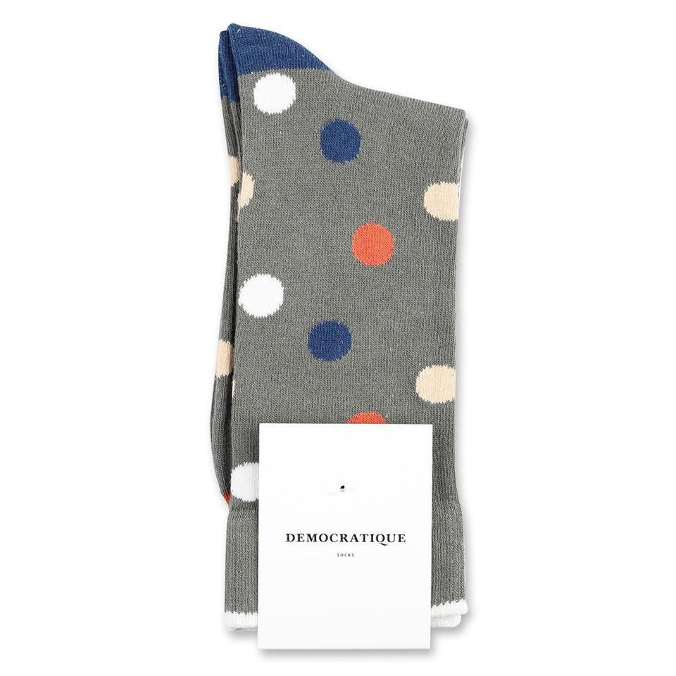 Democratique Socks Originals DotCom Army - Dusty Orange - Dark Ocean Blue - Off White - Dark Sand - Democratique Socks