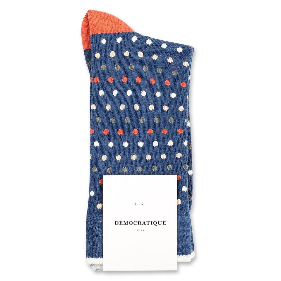 Democratique Socks Originals Polkadot Dark Ocean Blue - Dusty Orange - Army - Off White - Dark Sand - Democratique Socks