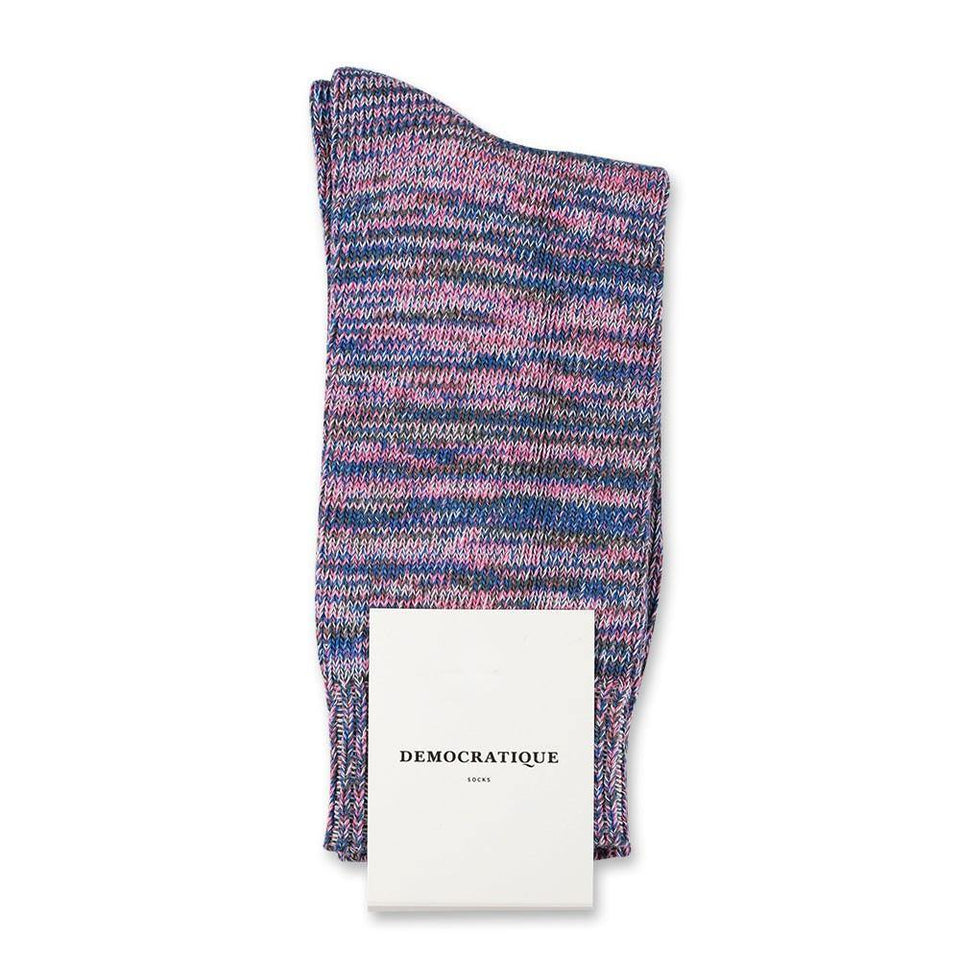 Democratique Socks Relax Chunky Flat Knit Supermelange Pink Fleur - Army - Off White - Light Blue - Democratique Socks