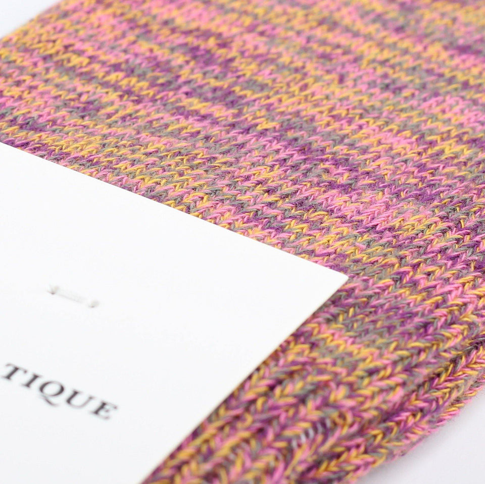 Democratique Socks Relax Chunky Flat Knit Supermelange Violet - Pink Fleur - Army - Hot Curry - Democratique Socks