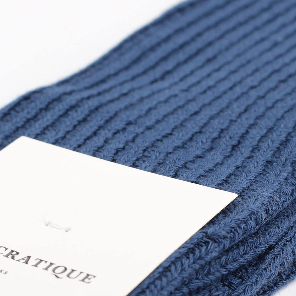 Democratique Socks Relax Waffle Knit Supermelange Dark Ocean Blue - Democratique Socks