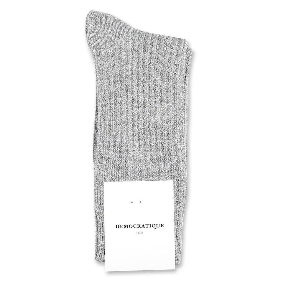 Democratique Socks Relax Waffle Knit Supermelange Light Grey Melange - Democratique Socks
