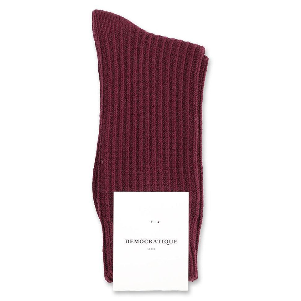 Democratique Socks Relax Waffle Knit Supermelange Heavy Plum - Democratique Socks