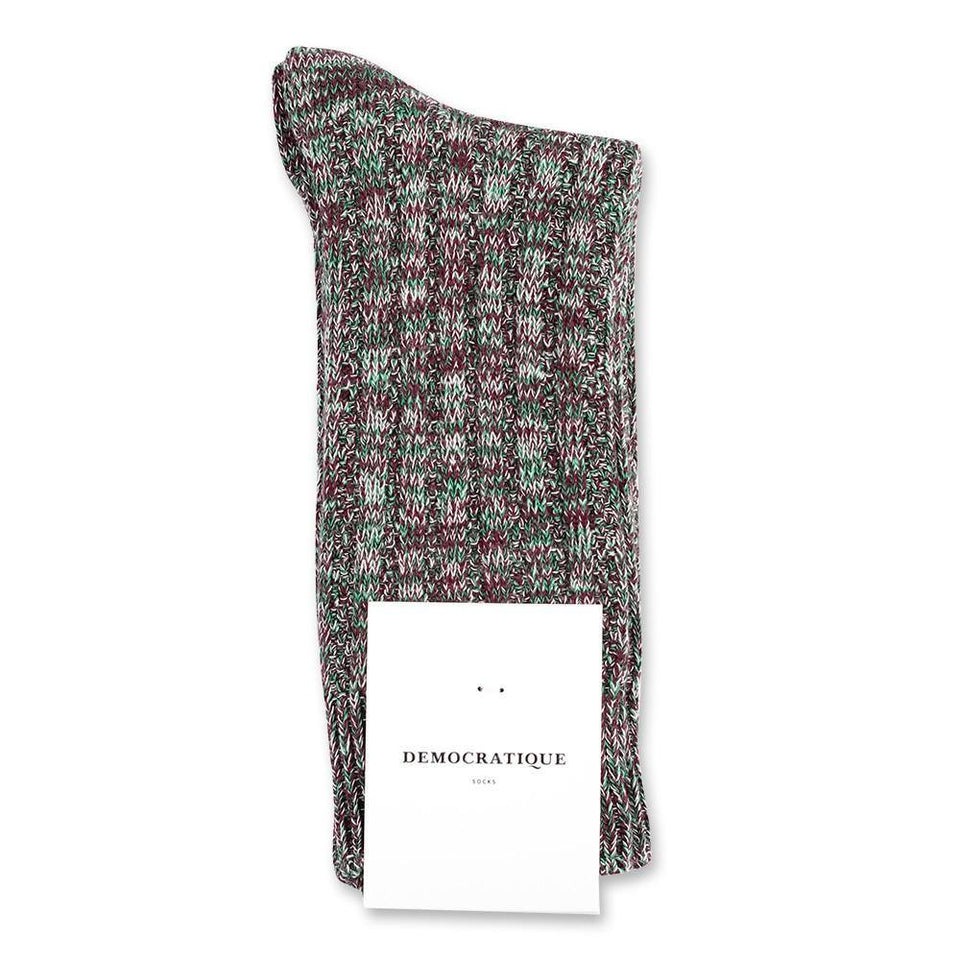 Democratique Socks Relax Schooner Knit Supermelange Dark Plum - Off White - Grass Green - Democratique Socks