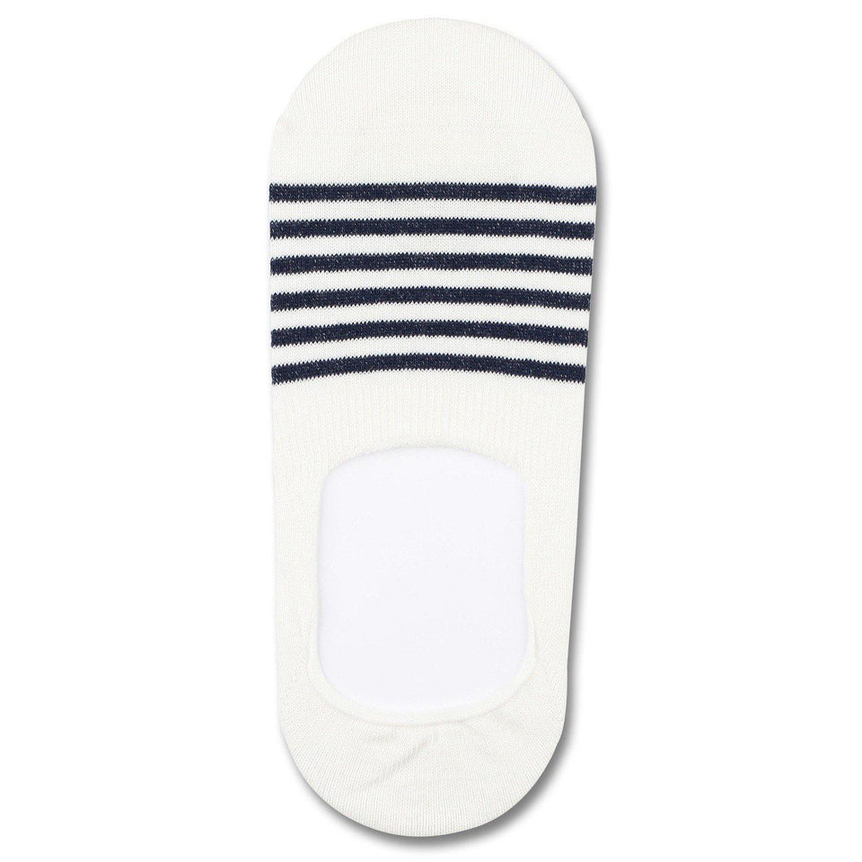 ORIGINALS SNEAKER INVISIBLE 3-PACK Broken White / Navy Stripes Democratique Socks - Democratique Socks