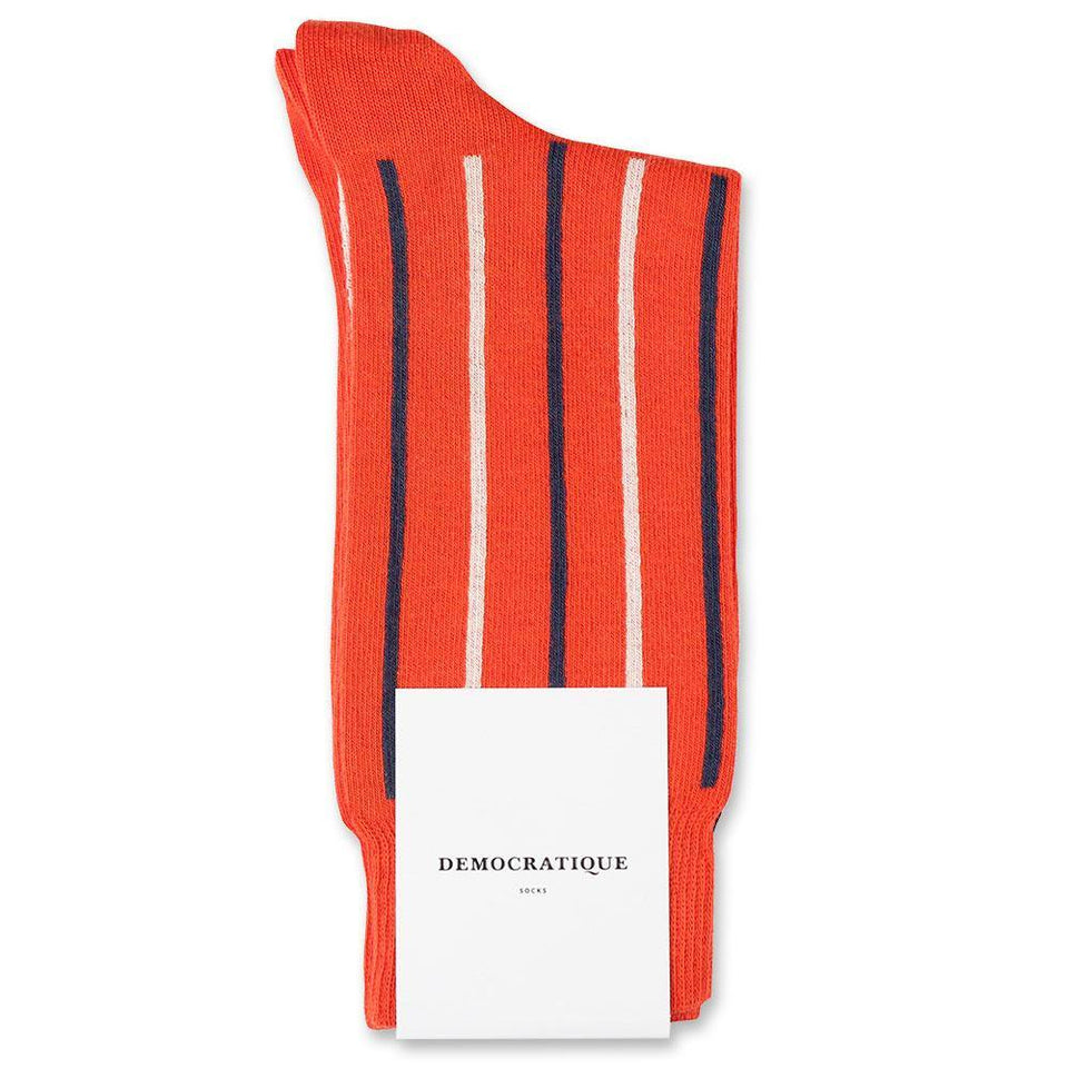 Democratique Socks Originals Latitude Striped Blood Orange / Off White / Shaded Blue - Democratique Socks