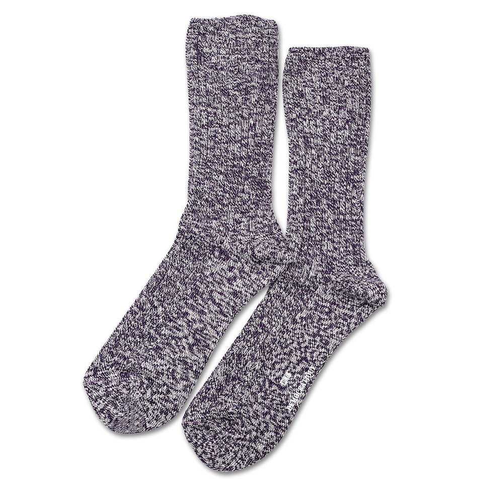 Edwin Jeans x Democratique Socks Relax Rib Sock Supermelange Dark Purple / Off White - Democratique Socks