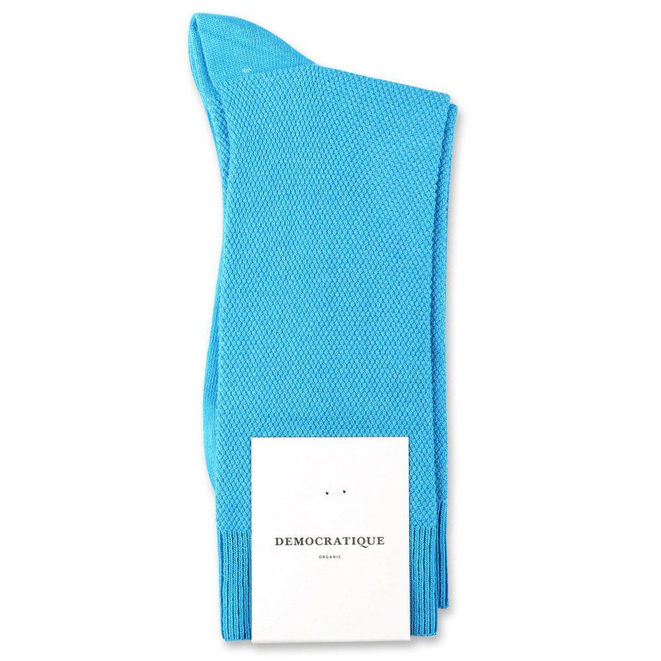 Democratique Socks Originals Champagne Pique Organic Cotton Swimmingpool - Democratique Socks