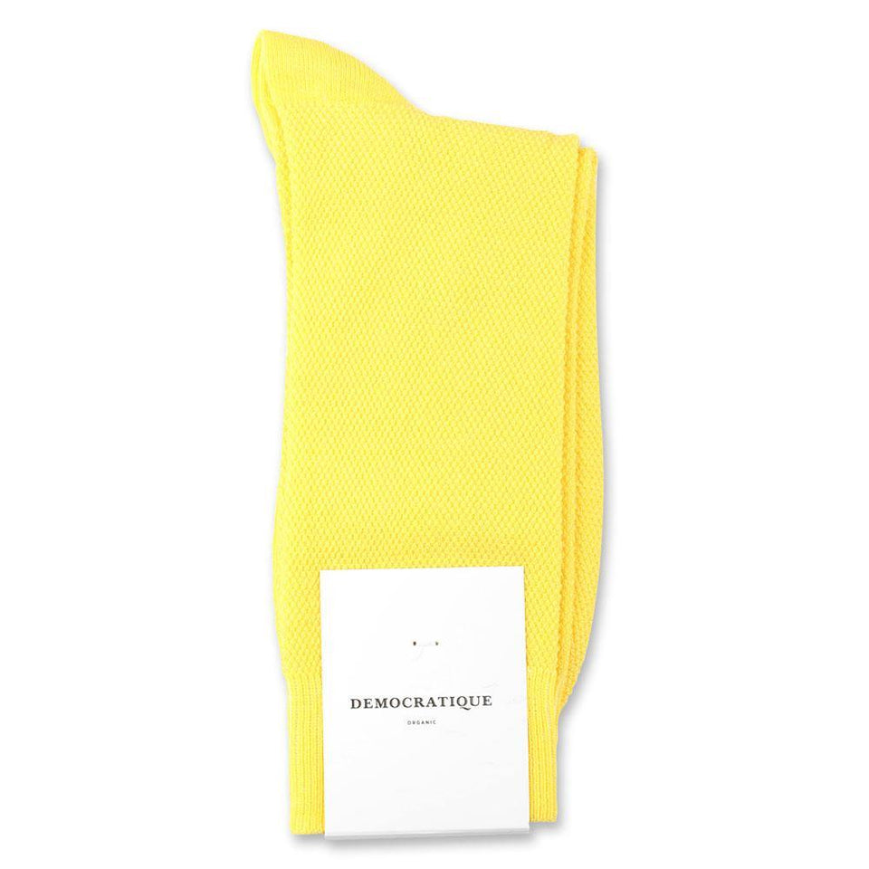 Democratique Socks Originals Champagne Pique Organic Cotton Yellow Sun - Democratique Socks