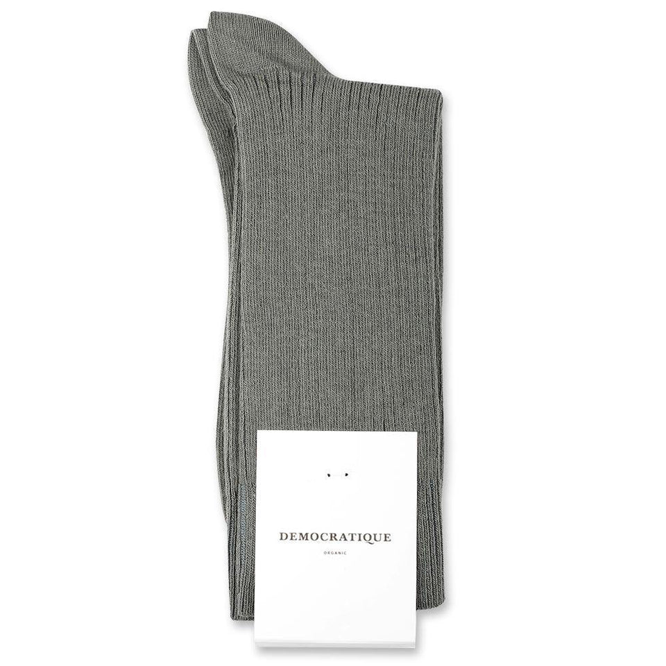 Democratique Socks Originals Fine Rib Organic Cotton Army - Democratique Socks