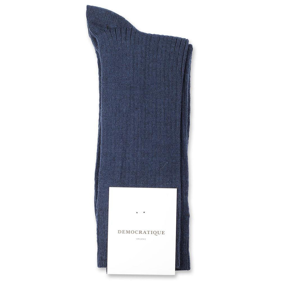 Democratique Socks Originals Fine Rib Organic Cotton New Blue - Democratique Socks