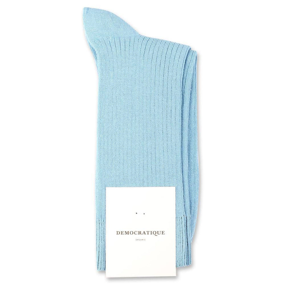 Democratique Socks Originals Fine Rib Organic Cotton Palm Springs Blue - Democratique Socks