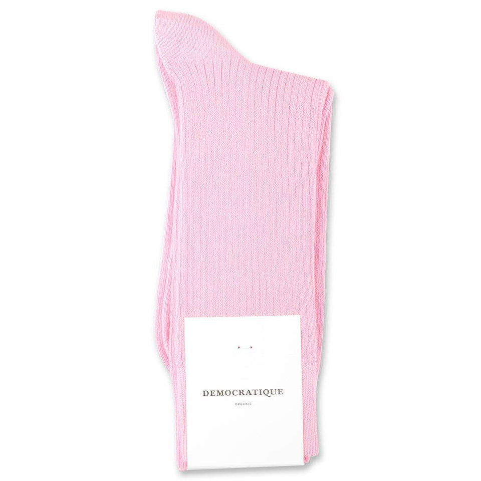 Democratique Socks Originals Fine Rib Organic Cotton Soft Pink - Democratique Socks