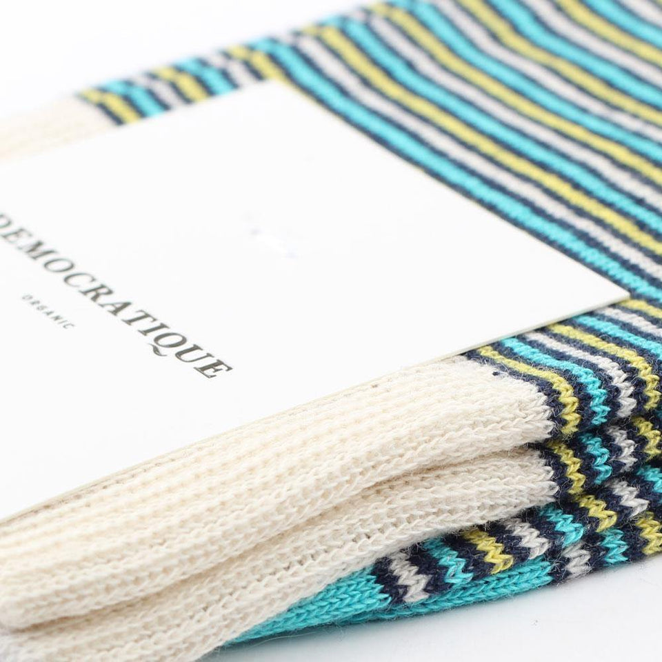 Democratique Socks Originals Ultralight Stripes Organic Cotton Navy / Yellow Sun / Swimmingpool / Off White - Democratique Socks